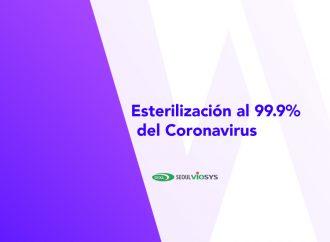 Esterilización al 99.9% del coronavirus